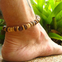 Wooden & Coconut Beaded Anklet / Mens Surfer Ankle Bracelet / Unisex Stretchy Beaded Anklet / Hippie Boho Anklet / Manklet / Summer Wear