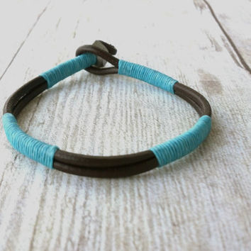 Guys Blue and Brown Leather Wrap Bracelet, Nautical by Nature, Chill Out, Rugged Style, Durable