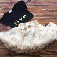 Five year old birthday outfit! Gold lettering ivory petti skirt,, Birthday, chiffon girls skirt, party toddler, 5, cream, white, shirt, set
