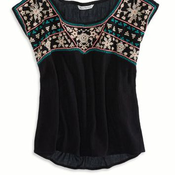 's Gauzy Embroidered T-shirt (True Black)