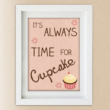 Kitchen decor - Time for cupcake -print - wall art - poster - illustration