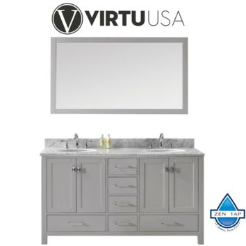 "Caroline Avenue 60"" Double Bathroom Vanity in Cashmere Grey with Marble Top and Round Sink with Mirror"