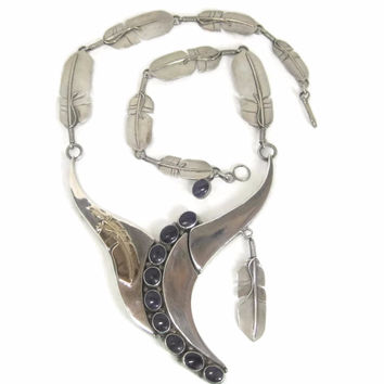 Vintage OOAK Navajo Sugilite Feather Necklace William Vandever