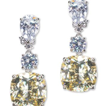 CZ by Kenneth Jay Lane - Canary Yellow Pear and Cushion Drop Clip Earring