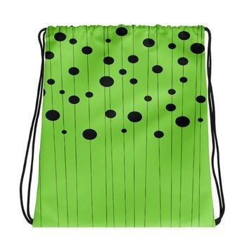 All-over-print Drawstring bag - Geometric lines and ovals, circles on grass green