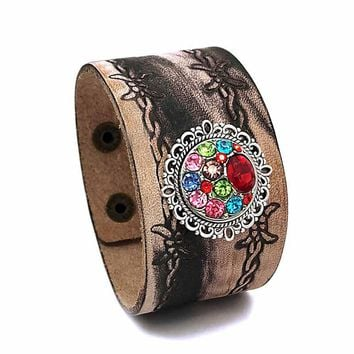 Punk Rock Interchangeable 300 Real Original Genuine Leather Retro fashion 18mm Snap Button Bracelet Charm Jewelry for women men