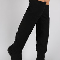 Black Bamboo Faux Suede Zipper Collar Knee High Boot