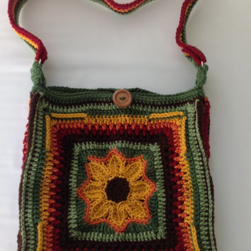 Sunflower Crossbody Bag - Boho Bag - Messenger Bag - Crochet Purse - Sunflower Pocketbook - Womens Pocketbook - Crochet Boho Bag