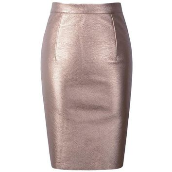 Women's PU Faux Leather High Waist Midi Back Slit Pencil Skirt With Satin Sheen