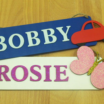 Name Sign, Name Plaque, Girls Room, Boys Room, Personalised Gift, Wooden Sign, Nursery Accessory, Red Car, Glitter, Butterfly, Hanging Sign