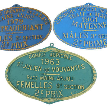 French  Agricultural   Wall Plaques, S/3