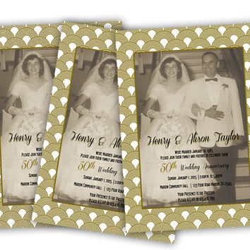 Golden Photo 50th Wedding Anniversary Invitation  - Art Deco Invitations 50th Anniversary Party - 50th Anniversary Invitations - Golden