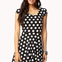 FOREVER 21 Polka Dot A-Line Dress Black/Cream Large