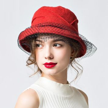 Lady Veil Basin Cap Adult Winter Warm Wool Hat Students Leisure Hat British Lady Bonnet Retro Elegant Basin Cap Bonnet B-7837