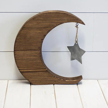 Moon and Star - Wood Wall Decor - Rustic Nursery Decor - Handmade Decor - Wall Art - Moon Sign - Star Sign - Nursery Decor