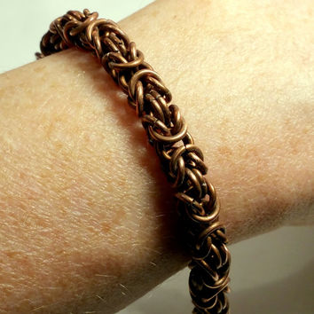 Byzantine Copper Toggle Bracelet Boho Bracelet Copper Vintage Bracelet Renaissance Chainmaille Choose Wide or Narrow