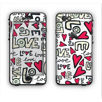 The Love and Hearts Doodle Pattern Apple iPhone 6 Plus LifeProof Nuud Case Skin Set