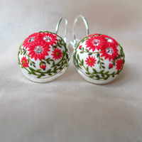 Dancing Red Flowers Earrings Stories made by hands silver red earrings Holiday earrings Winter Jewelry Snow Christmas Gift Ideas for Her