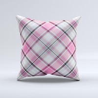 Black and Pink Layered Plaid V5 ink-Fuzed Decorative Throw Pillow