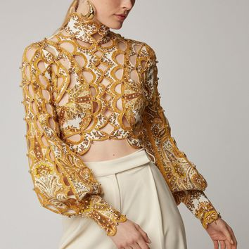 Yellow Floral Beaded Puff Sleeve Crop Top Blouse