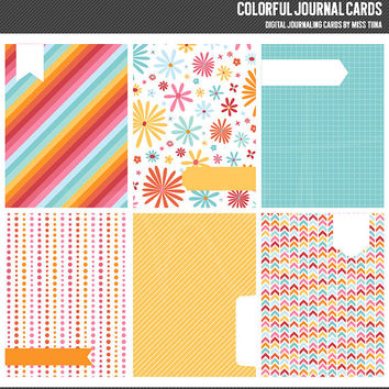 Colorful Digital Journal Cards - 3x4 project life inspired printable scrapbooking journaling note cards  - instant download - CU OK