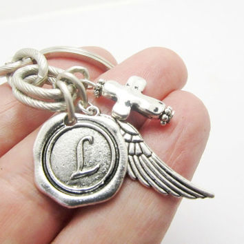 Initial Unisex  Keychain, Antique Silver Wax Seal Initial Pendant. Angel Charm, Antique Silver Cross Pendant, Monogrammed