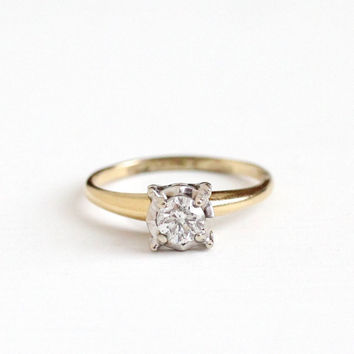 Vintage 14k Yellow & White Gold .49 CT Diamond Solitaire Ring - Size 7 1/4 1950s Fine Illusion Engagement Bridal Wedding Jewelry Appraisal
