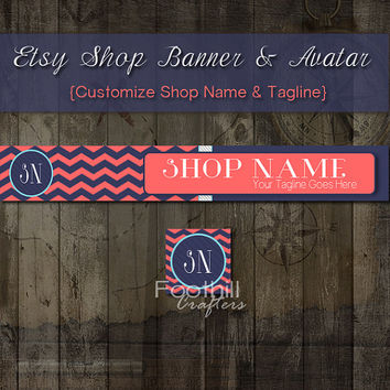 Etsy Banner and Matching Avatar, Premade Nautical, Navy Blue and Coral Chevron Pattern, Customize Shop Name and Tagline, Graphic Design