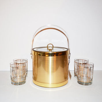 Vintage Gold Barware Set Mid Century Modern Barware 5 Piece Set Ice Bucket and 4 Glasses signed by Georges Briard Gold Ice Bucket Gift Set.