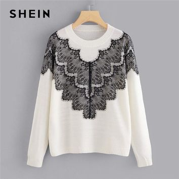 SHEIN White Casual Preppy Soft Knit Sweater With Contrast Lace Panel Pullovers Sweaters Autumn Campus Elegant Women Sweaters