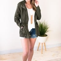 Busy Loving Life Olive Utility Jacket