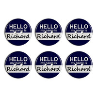 Richard Hello My Name Is Plastic Resin Button Set of 6