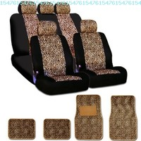 New and Unique YupbizAuto brand Safari Cheetah Print Universal Size Car Truck SUV Seat Covers and Floor Mats Set High Quality Velour and Mesh Material Gift Set Smart Pocket Feature:Amazon:Automotive
