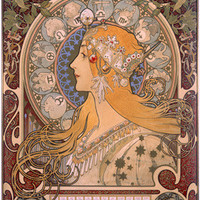 Champagne Zodiac Advertisement by Alphonse Mucha Fine Art Print