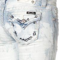 Miss Me Broken Rough Stitch Flap Skinny Jean
