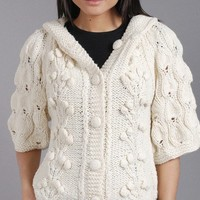 Hooded Lady Cardigan Off WhiteNeutral Cream by SmilingKnitting