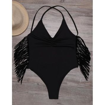 Solid Ruched Fringe Cross Back Backless One Piece Swimsuit