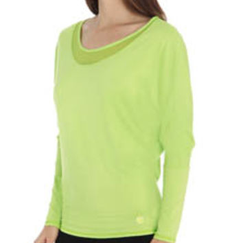 Trina Turk TR5A855 Mesh and Jersey Dolman Long Sleeve Top