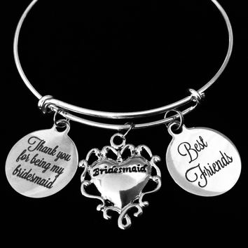 Bridesmaid Best Friends Thank you Adjustable Bracelet Expandable Silver Wire Bangle Wedding Shower Bridal Trendy Proposal One Size Fits All Gift