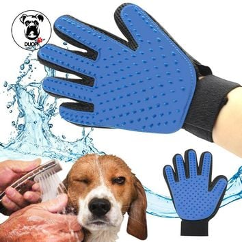 pet hair glove Silicone True Touch Glove Gentle Efficient Pet Grooming Animal Dog Spill Grooming Brush Bath Gloves For Comb Cats