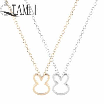 QIAMNI Lovely Animal Rabbit Chain Bunny Ear Pendant Clavicle Collares Necklace Christmas Birthday Gift Minimalist Jewelry