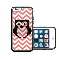 RCGrafix Brand Owl Coral Chevron black iPhone 6 Case - Fits NEW Apple iPhone 6