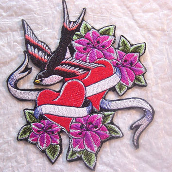 "Large Tattoo Art Style Swallow & Hearts - Stunning Colors  -  Embroidered Iron on Patch - Applique - 4.75"" x 5.75"""
