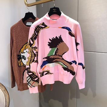 """Burberry"" Women Casual Fashion Duck Pattern Long Sleeve Knitwear Pullover Sweater Tops"