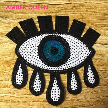 Eye Eyeball Tattoo Wicca Occult Goth Punk Retro Applique Iron-on Patch 2pcs Sequined Soul Eyes Tears Patches DIY Accessories