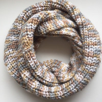 Chunky Extra Long Infinity Scarf • Acrylic Yarn • Oversized Scarf • Knit Scarf • STANDARD KNIT • Thick Winter Scarf • Neutral Colors •