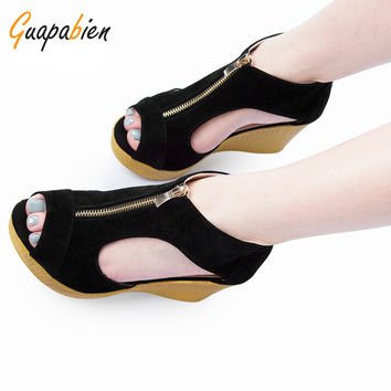 Guapabien Summer Women Causal Sandals Sexy Ladies Open Toe Wedges High Heels Sandals Round Toe Zipper Cut-Outs Platform Sandals