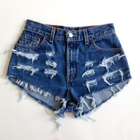 Dark Wash High Waisted Levis Shorts by BohoChildGarments on Etsy
