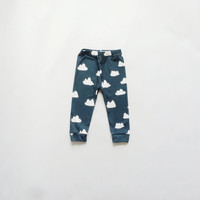Organic cotton knit dark blue with white clouds leggings / pants for baby and toddler gender neutral