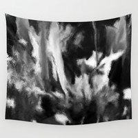 Black and White Abstract Wall Tapestry by Photatious